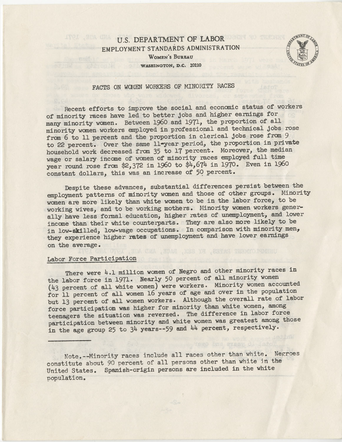 Facts on Women Workers of Minority Races, U.S. Department of Labor, June 1972, Page 1