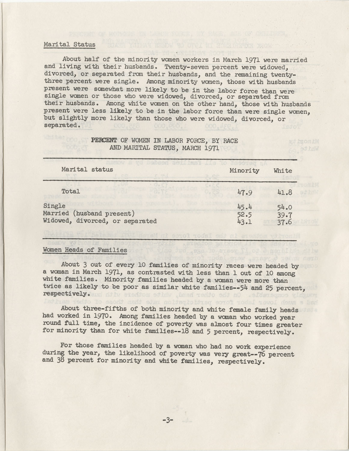 Facts on Women Workers of Minority Races, U.S. Department of Labor, June 1972, Page 3