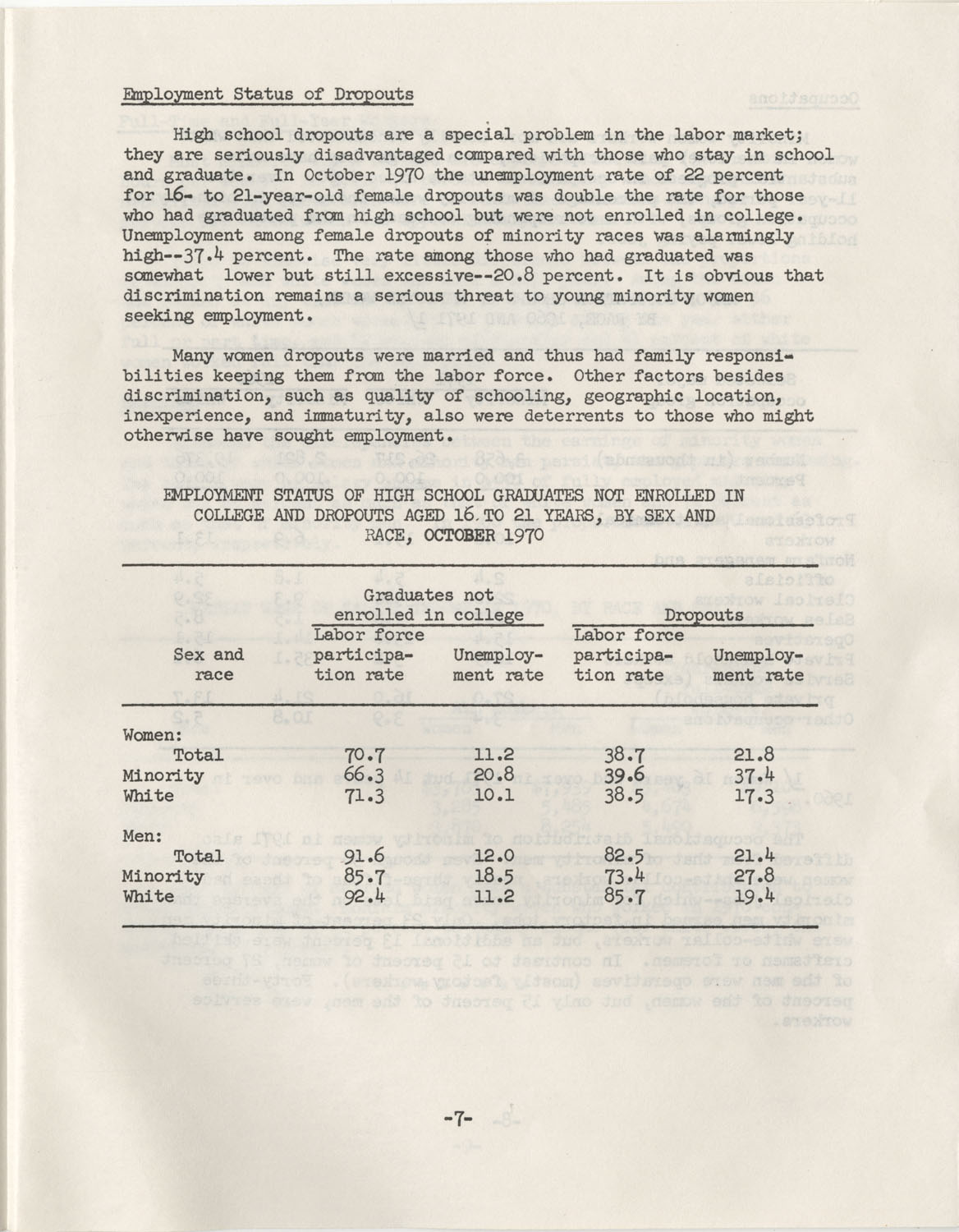 Facts on Women Workers of Minority Races, U.S. Department of Labor, June 1972, Page 7