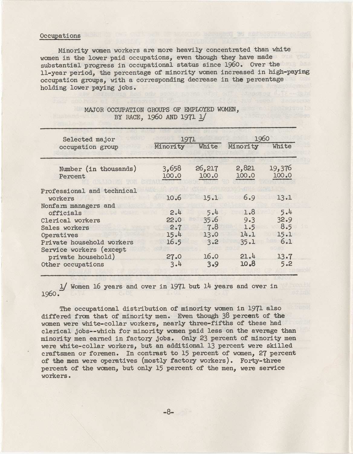 Facts on Women Workers of Minority Races, U.S. Department of Labor, June 1972, Page 8