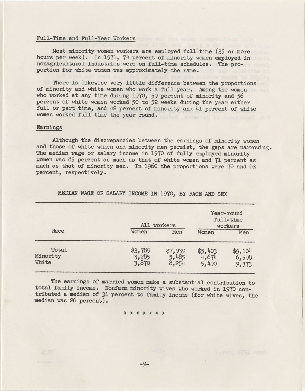 Facts on Women Workers of Minority Races, U.S. Department of Labor, June 1972, Page 9