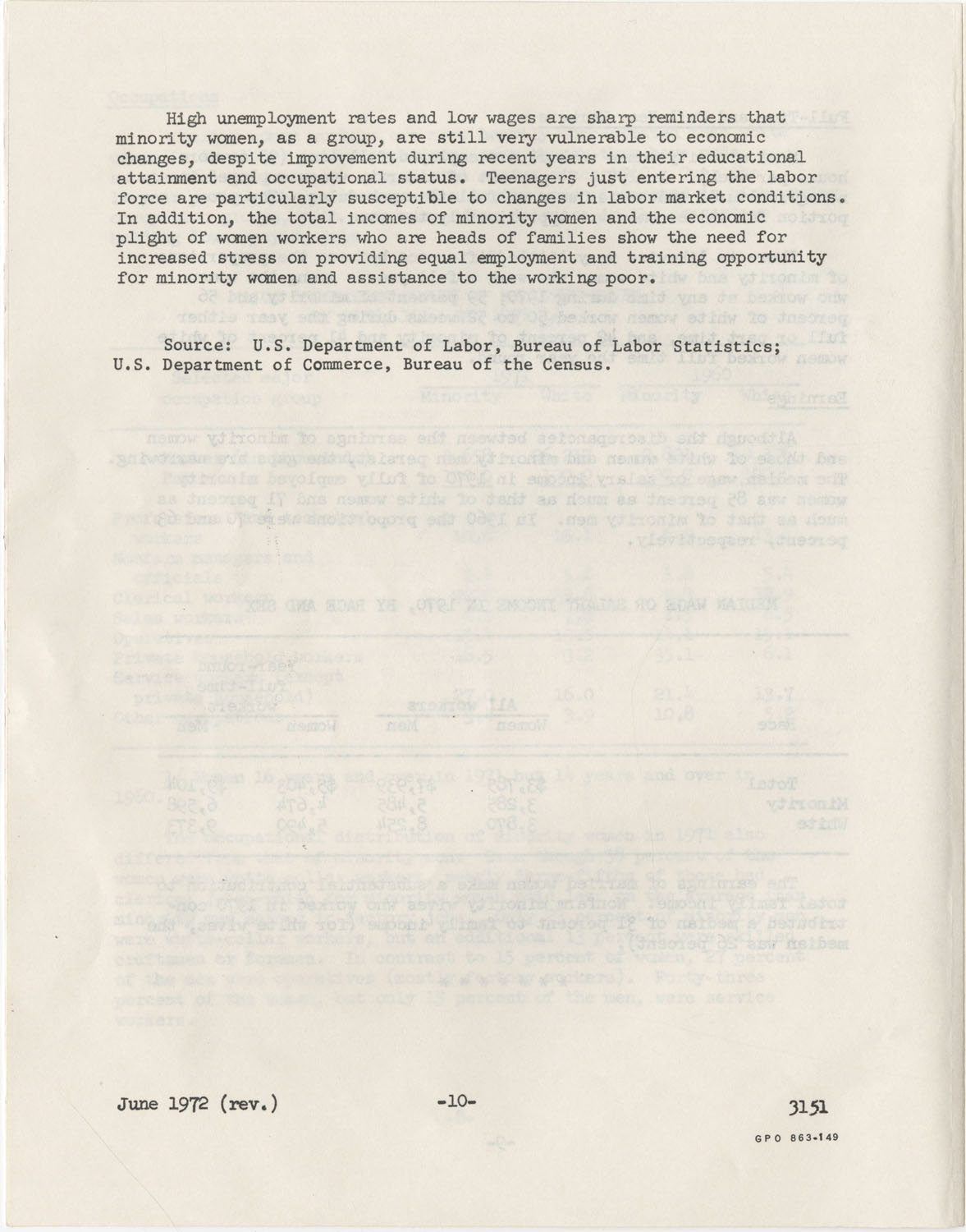 Facts on Women Workers of Minority Races, U.S. Department of Labor, June 1972, Page 10