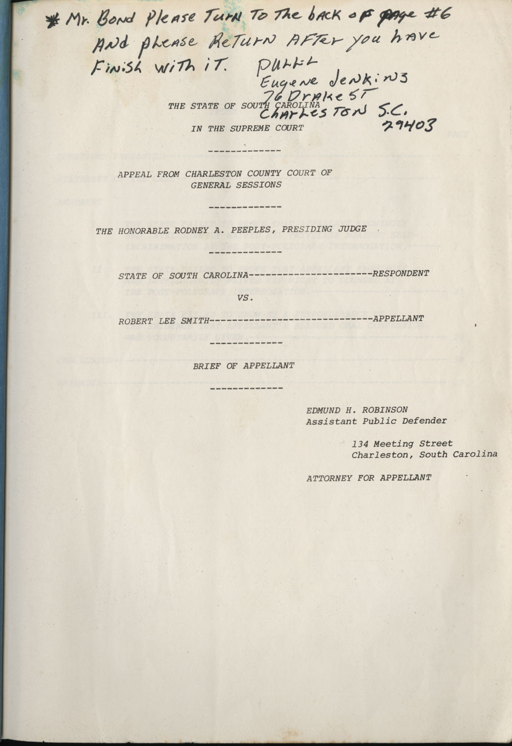 State of South Carolina vs. Robert Lee Smith, Brief of Appellant, Title Page