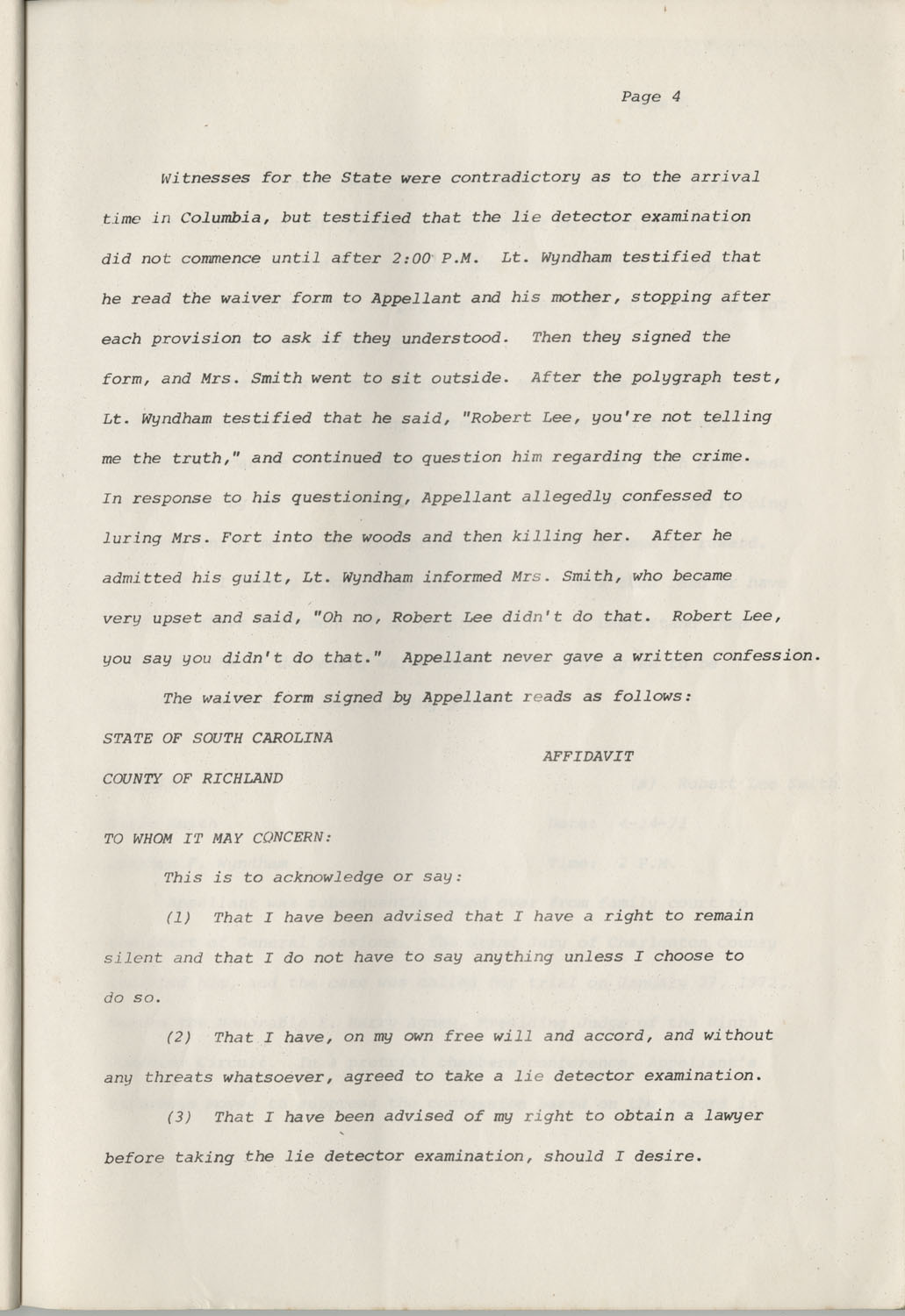 State of South Carolina vs. Robert Lee Smith, Brief of Appellant, Page 4