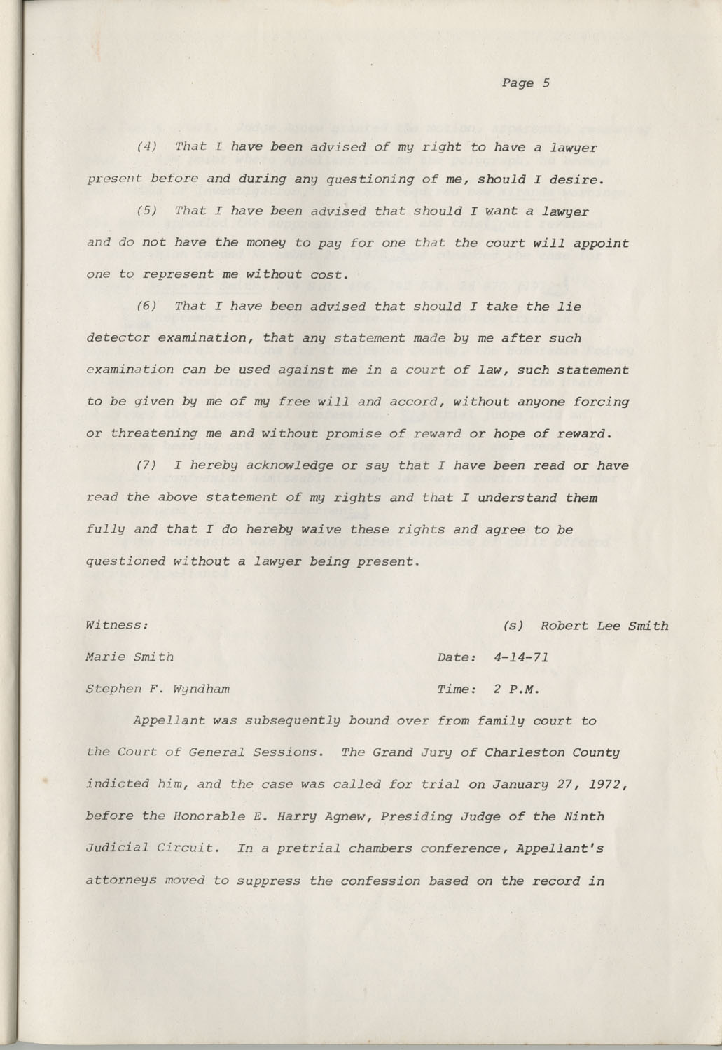 State of South Carolina vs. Robert Lee Smith, Brief of Appellant, Page 5