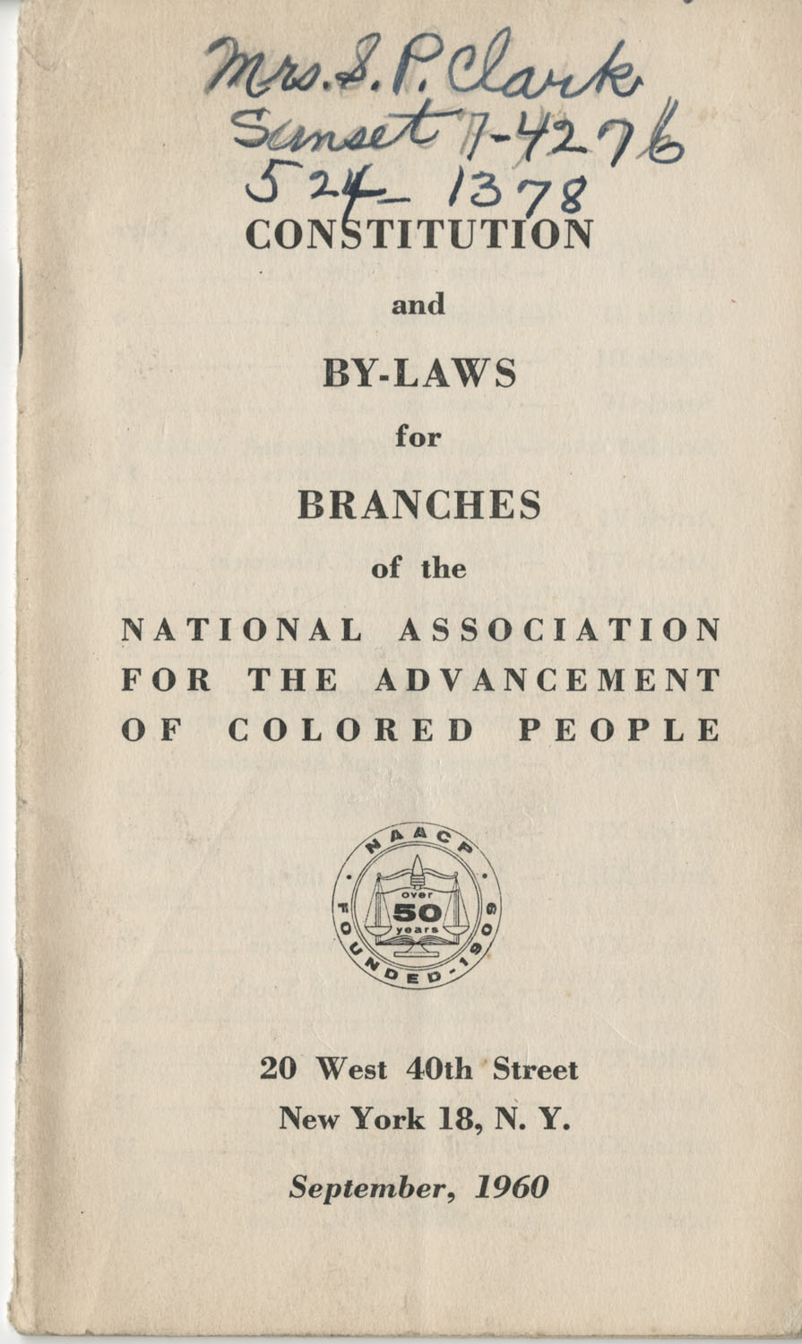Constitutions and By-Laws, September 1960, Cover