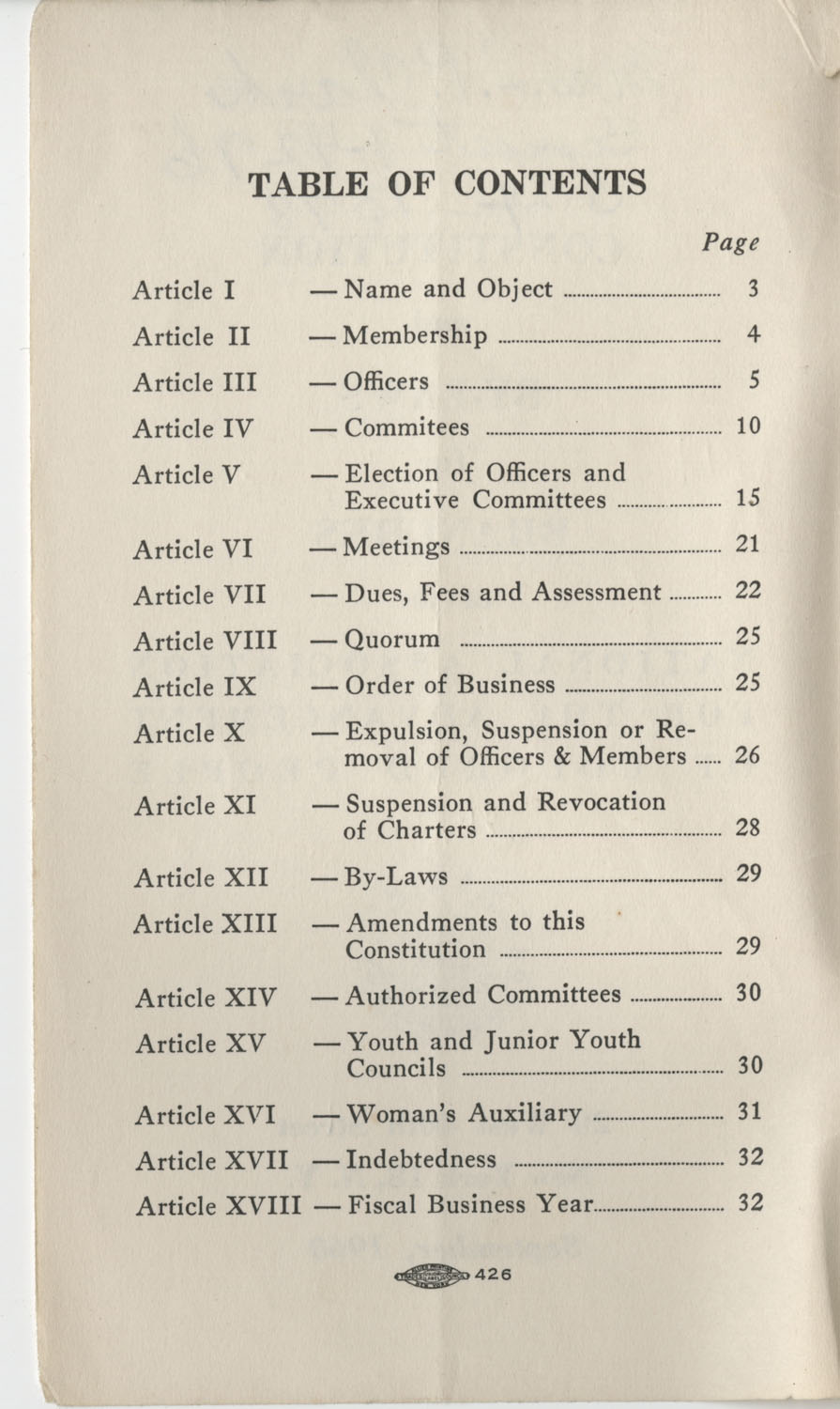 Constitutions and By-Laws, September 1960, Table of Contents