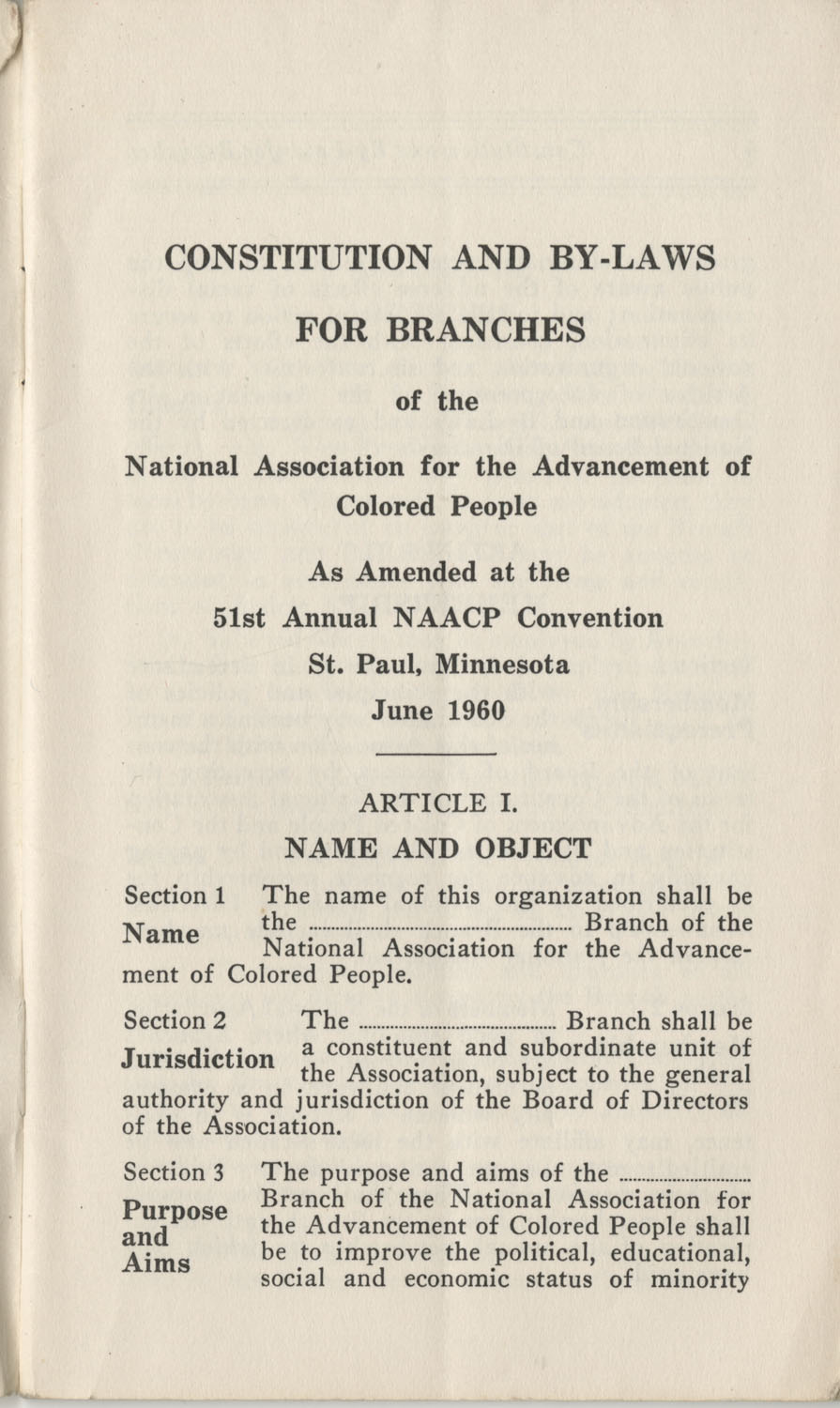 Constitutions and By-Laws, September 1960, Page 3
