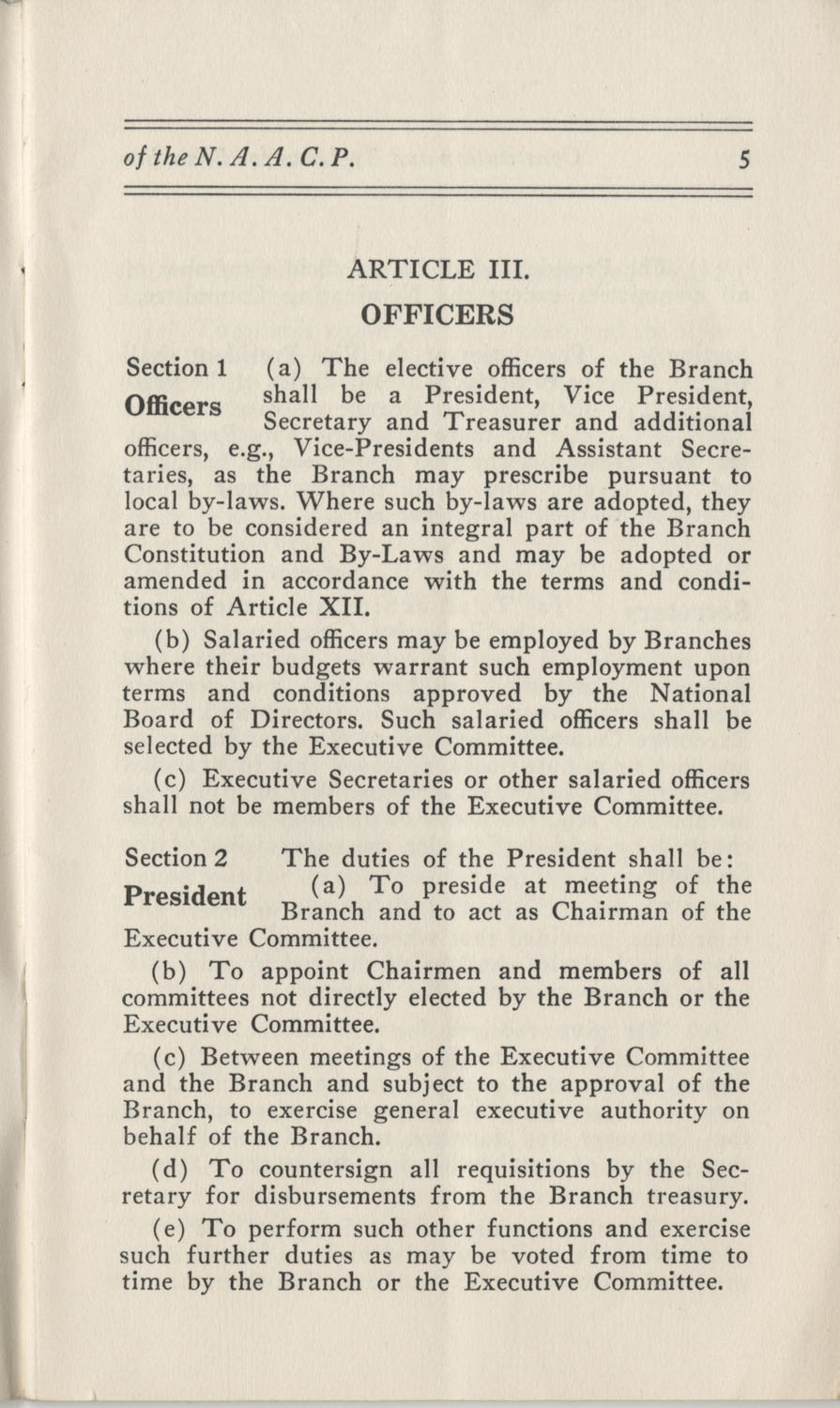 Constitutions and By-Laws, September 1960, Page 5