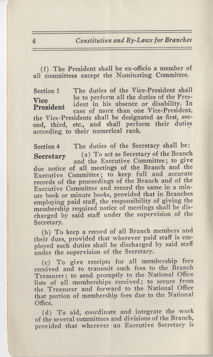Constitutions and By-Laws, September 1960, Page 6