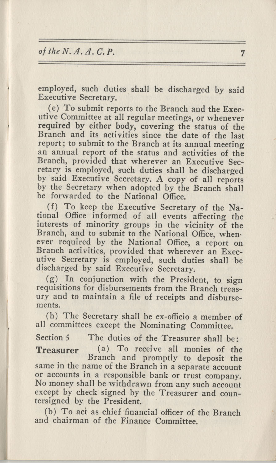 Constitutions and By-Laws, September 1960, Page 7