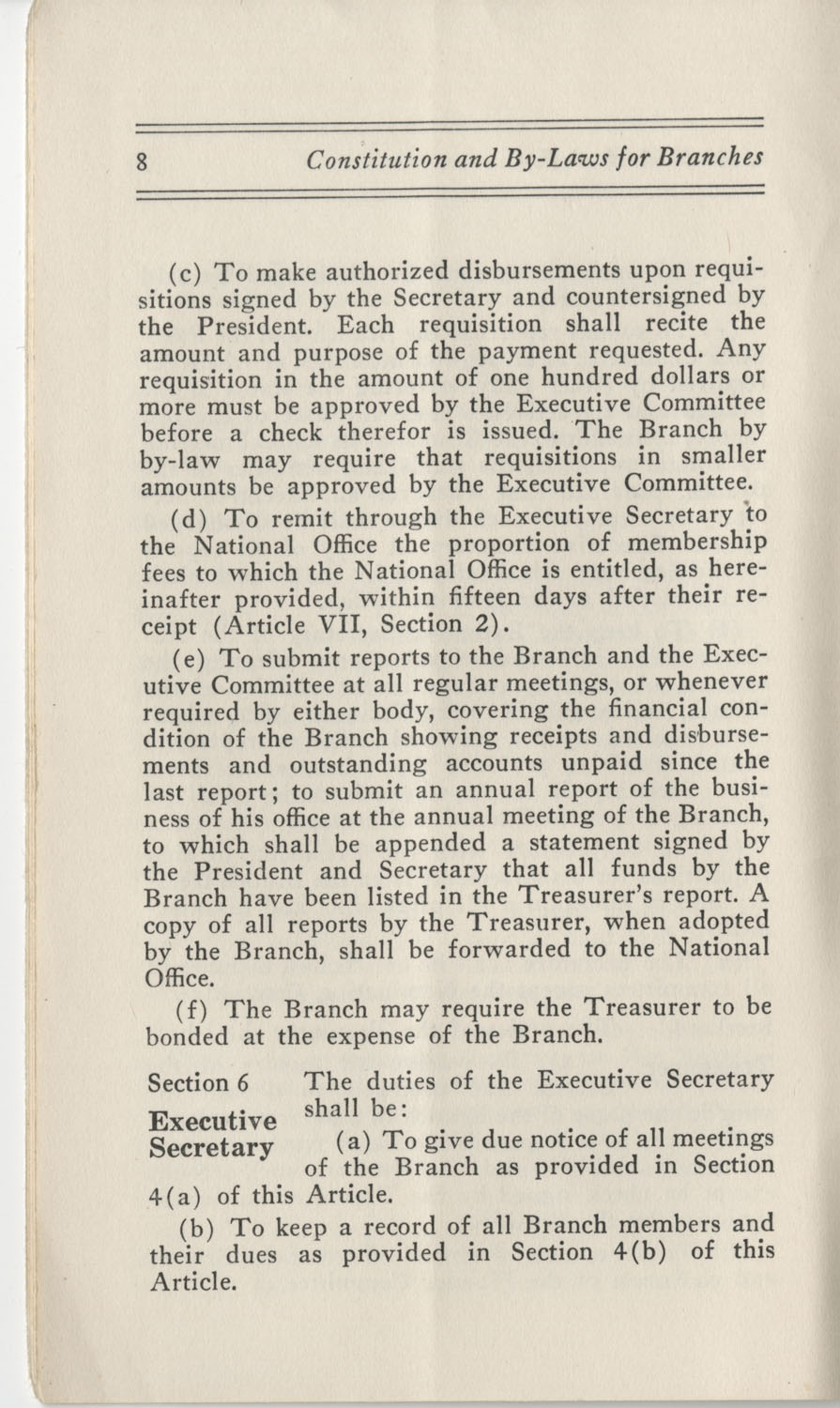 Constitutions and By-Laws, September 1960, Page 8