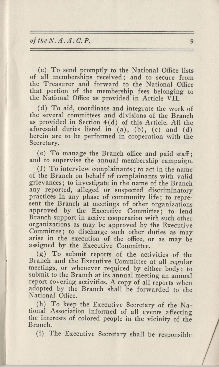 Constitutions and By-Laws, September 1960, Page 9