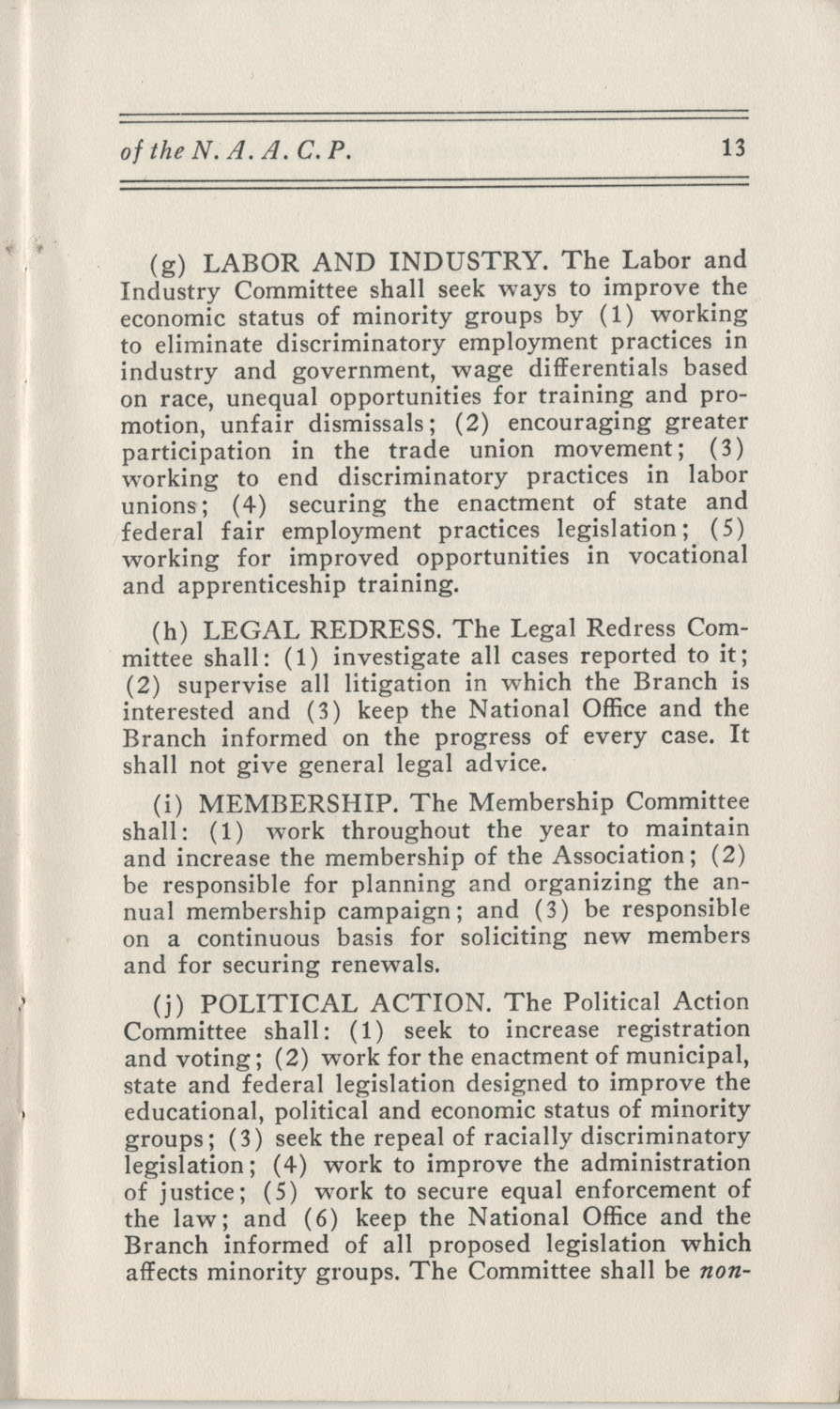 Constitutions and By-Laws, September 1960, Page 13