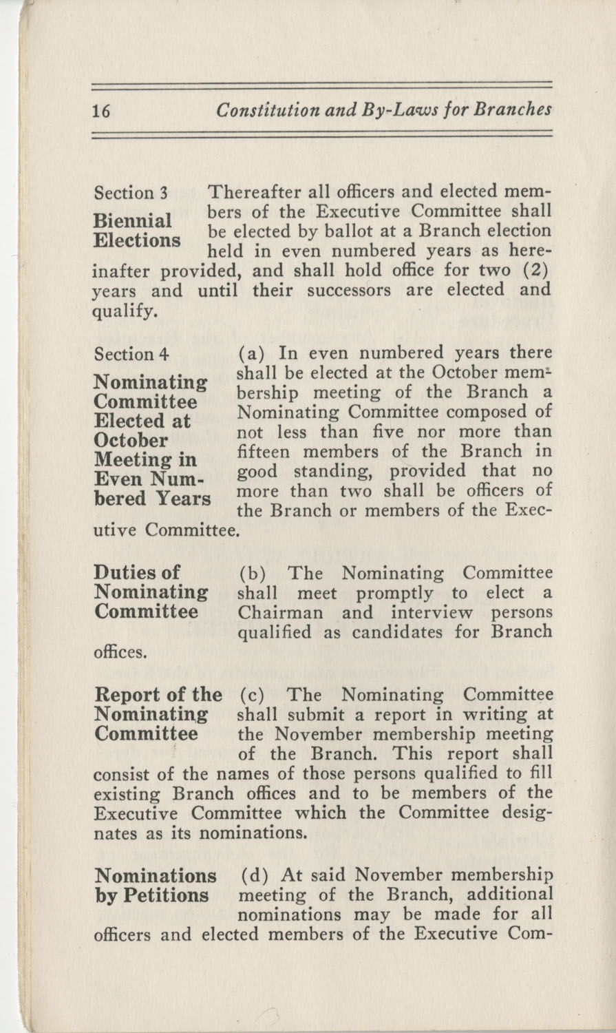 Constitutions and By-Laws, September 1960, Page 16
