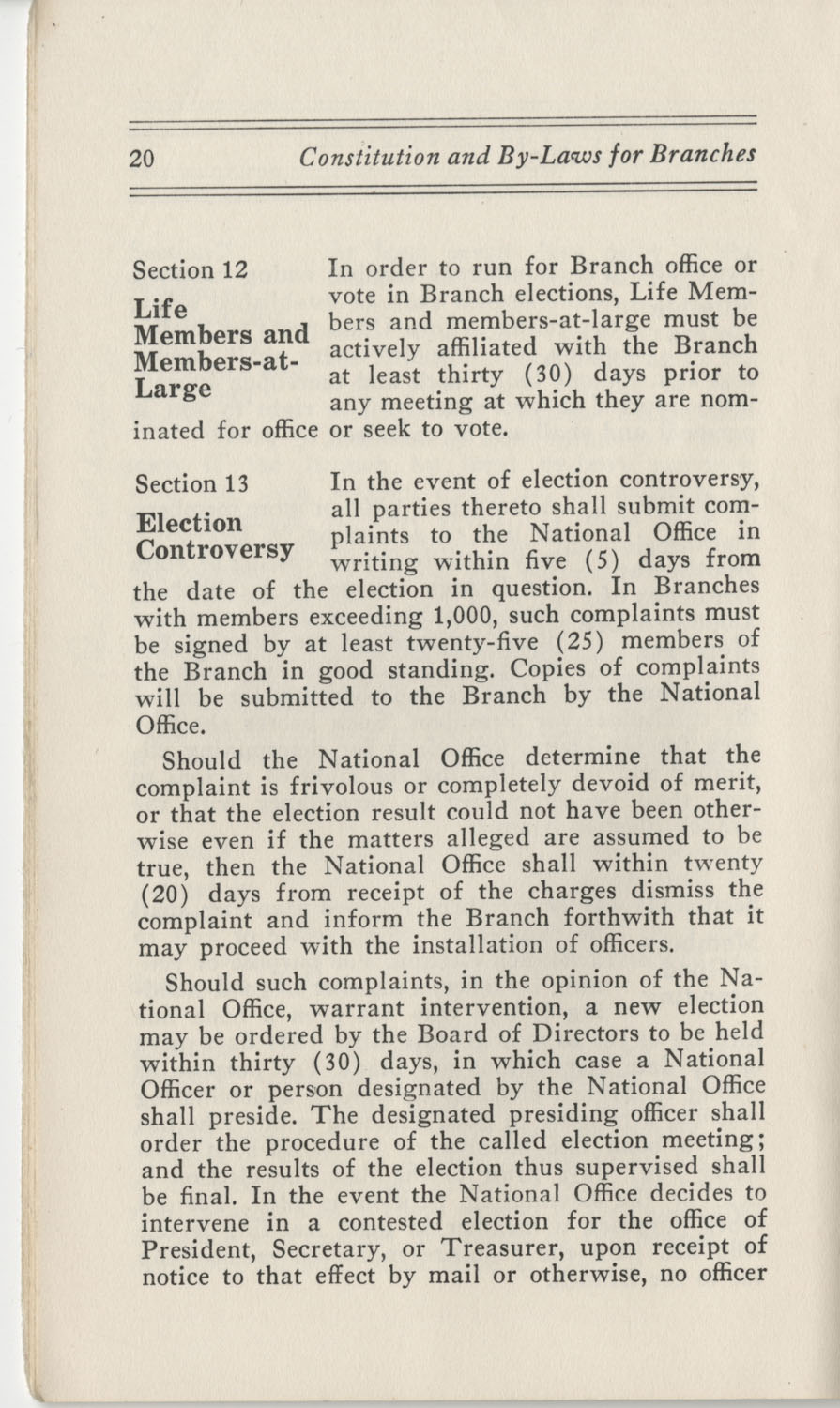 Constitutions and By-Laws, September 1960, Page 20