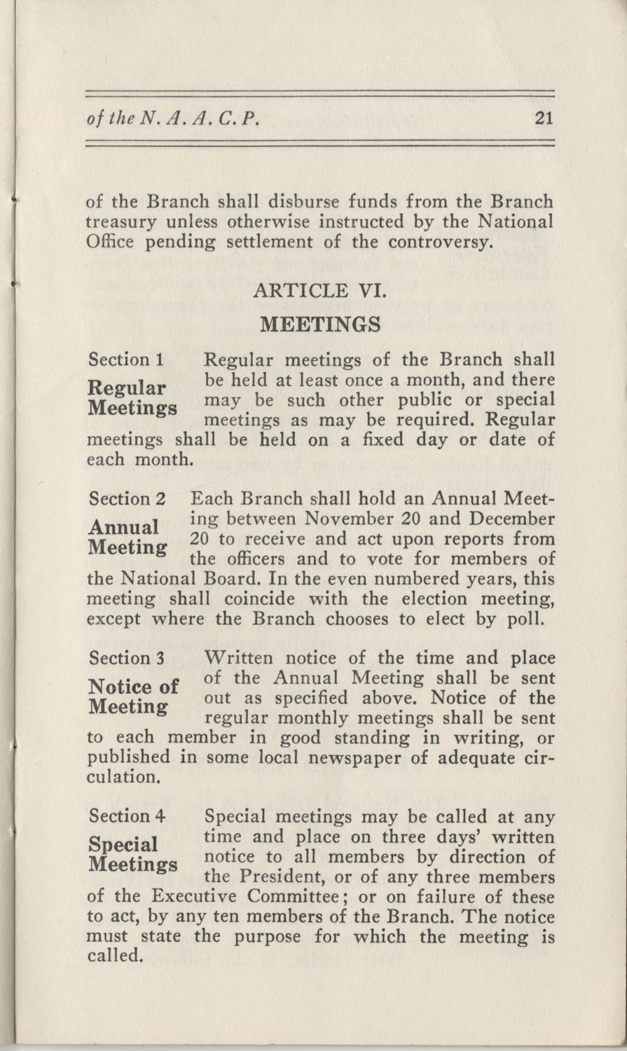 Constitutions and By-Laws, September 1960, Page 21