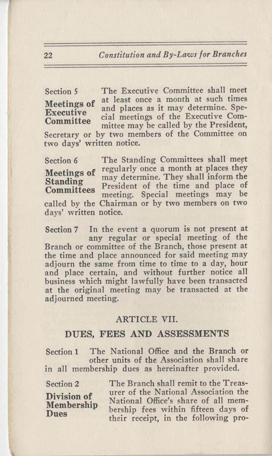 Constitutions and By-Laws, September 1960, Page 22