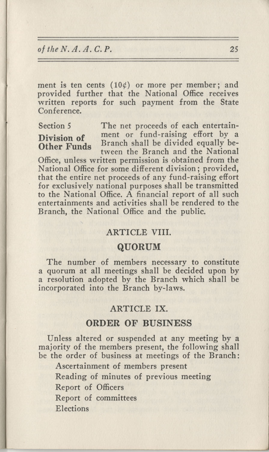 Constitutions and By-Laws, September 1960, Page 25