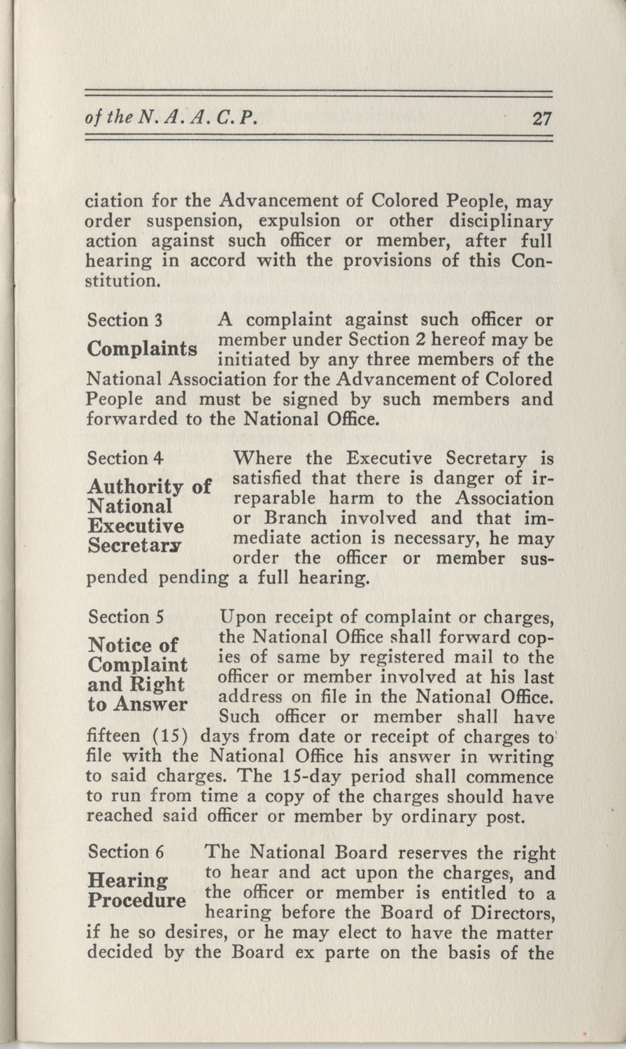 Constitutions and By-Laws, September 1960, Page 27