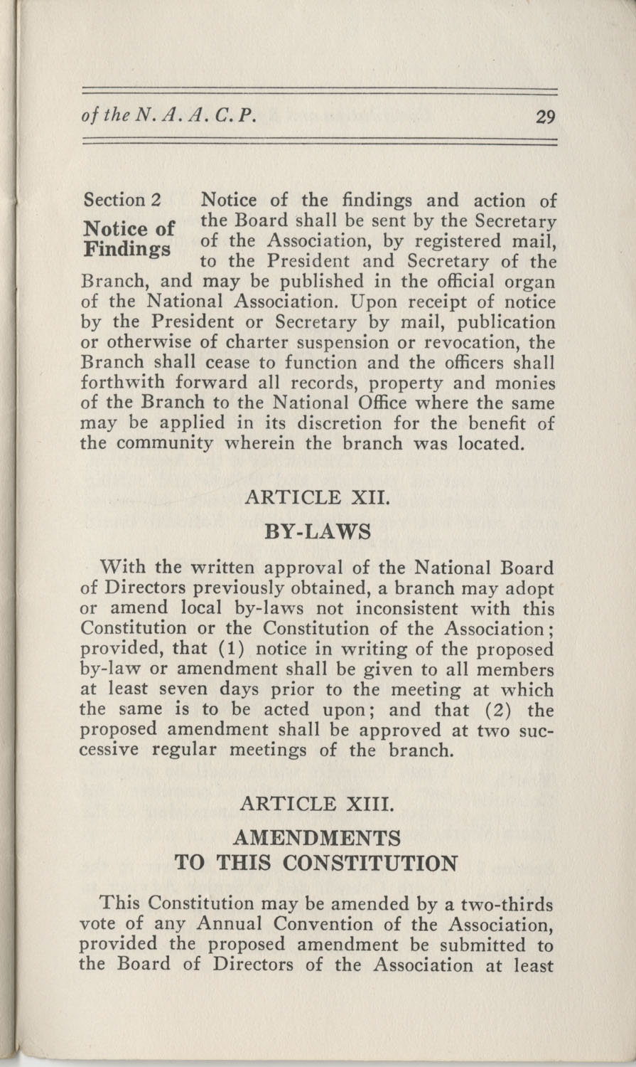 Constitutions and By-Laws, September 1960, Page 29