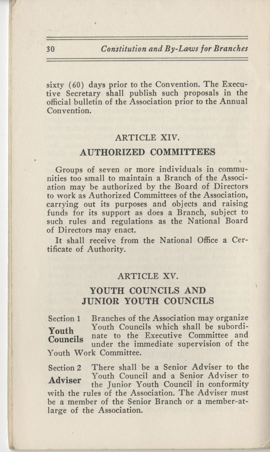 Constitutions and By-Laws, September 1960, Page 30