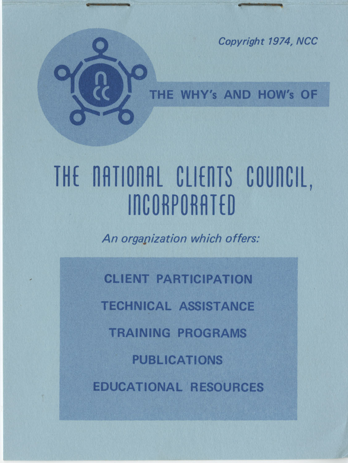 The Why's and How's of The National Clients Council, 1974, Cover
