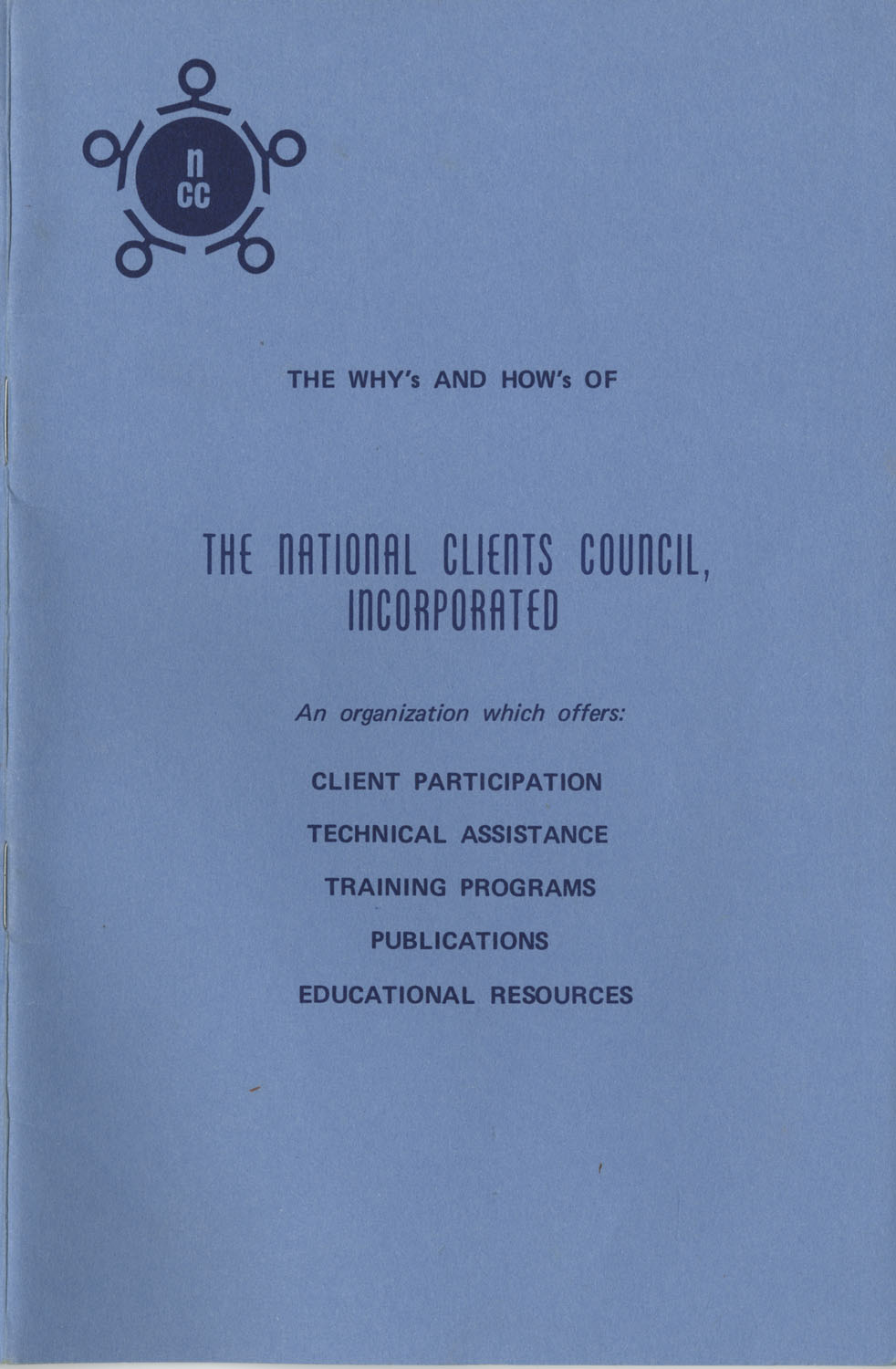 The Why's and How's of The National Clients Council, Front Cover