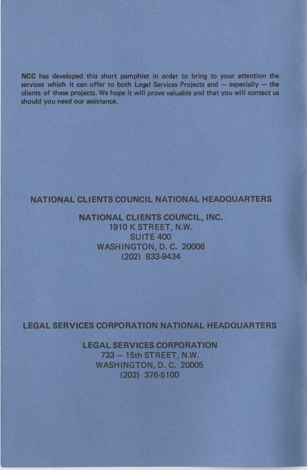 The Why's and How's of The National Clients Council, Front Cover Interior