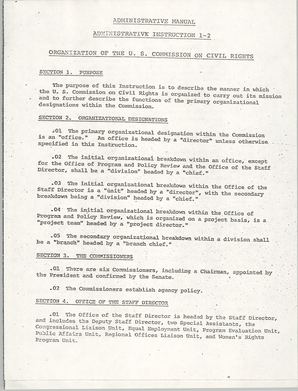 Administrative Manual Instruction 1-2, Organization of the U.S. Commission on Civil Rights, Page 1