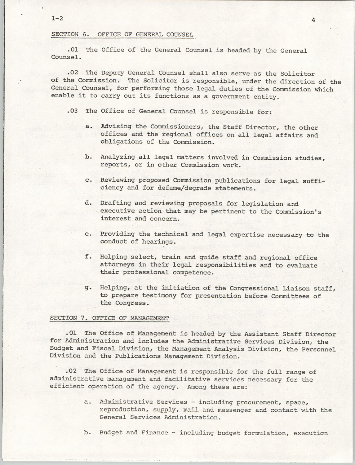 Administrative Manual Instruction 1-2, Organization of the U.S. Commission on Civil Rights, Page 4