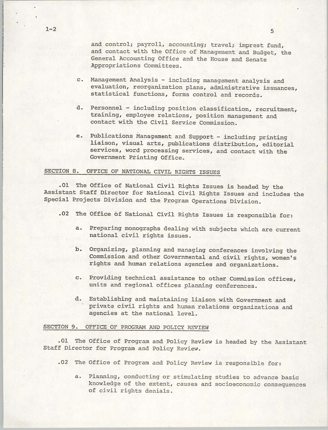 Administrative Manual Instruction 1-2, Organization of the U.S. Commission on Civil Rights, Page 5