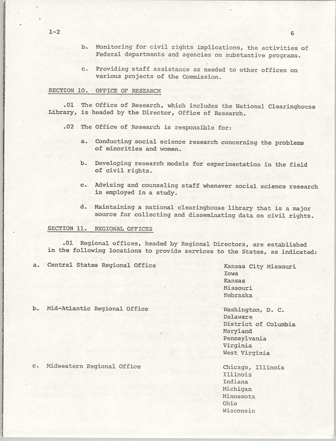 Administrative Manual Instruction 1-2, Organization of the U.S. Commission on Civil Rights, Page 6