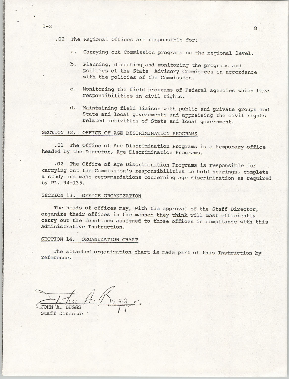 Administrative Manual Instruction 1-2, Organization of the U.S. Commission on Civil Rights, Page 8