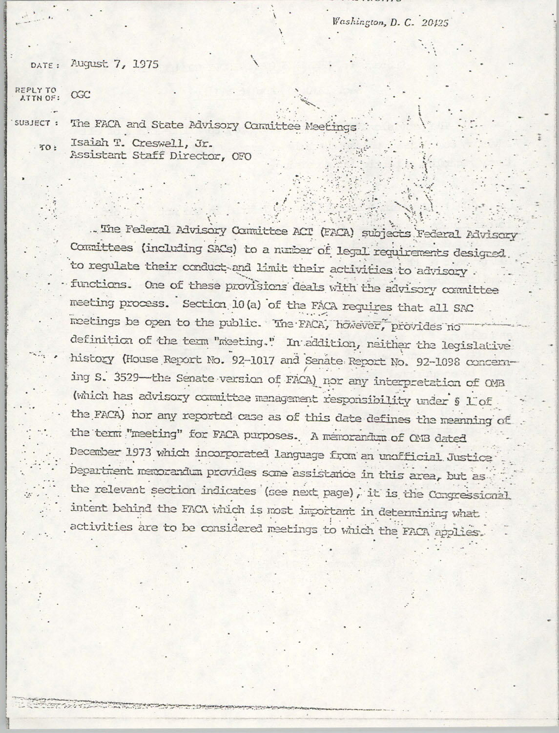 Memorandum from Lawrence B. Glick to Isaiah T. Creswell, August 7, 1975, Page 1