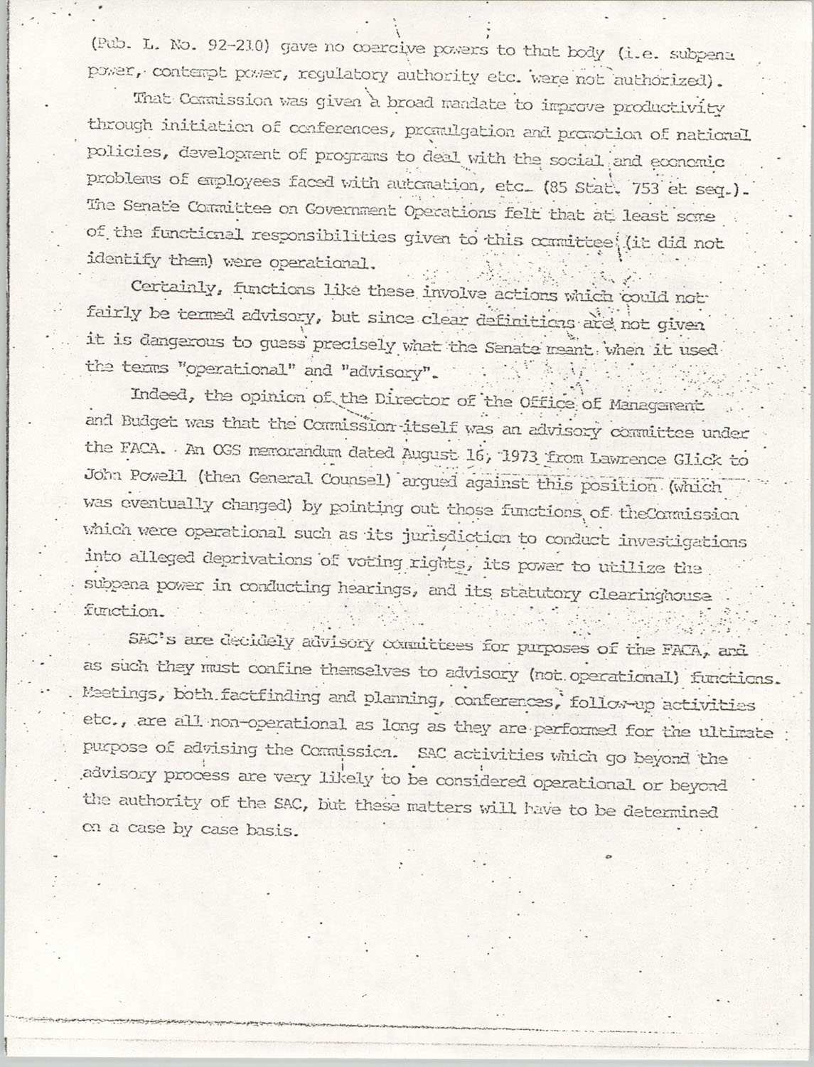 Memorandum from Lawrence B. Glick to Isaiah T. Creswell, August 7, 1975, Page 10