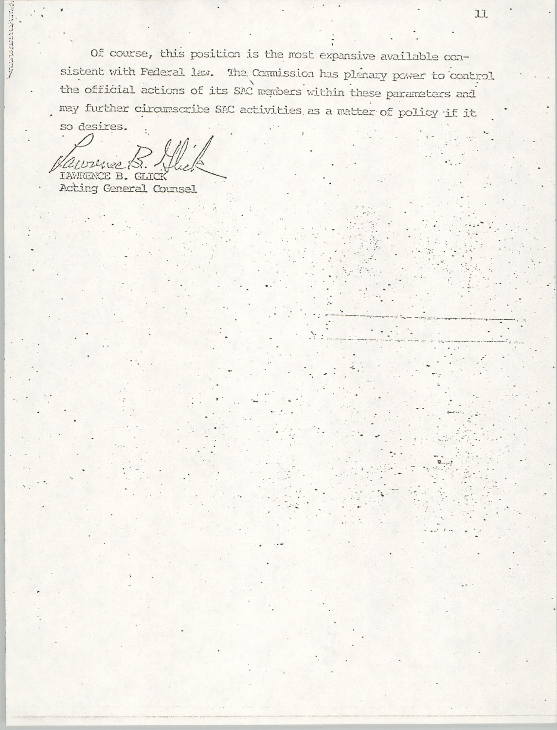 Memorandum from Lawrence B. Glick to Isaiah T. Creswell, August 7, 1975, Page 11