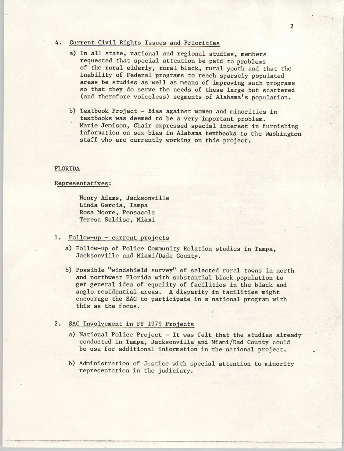 Minutes, SAC Southern Region Meeting, Page 2