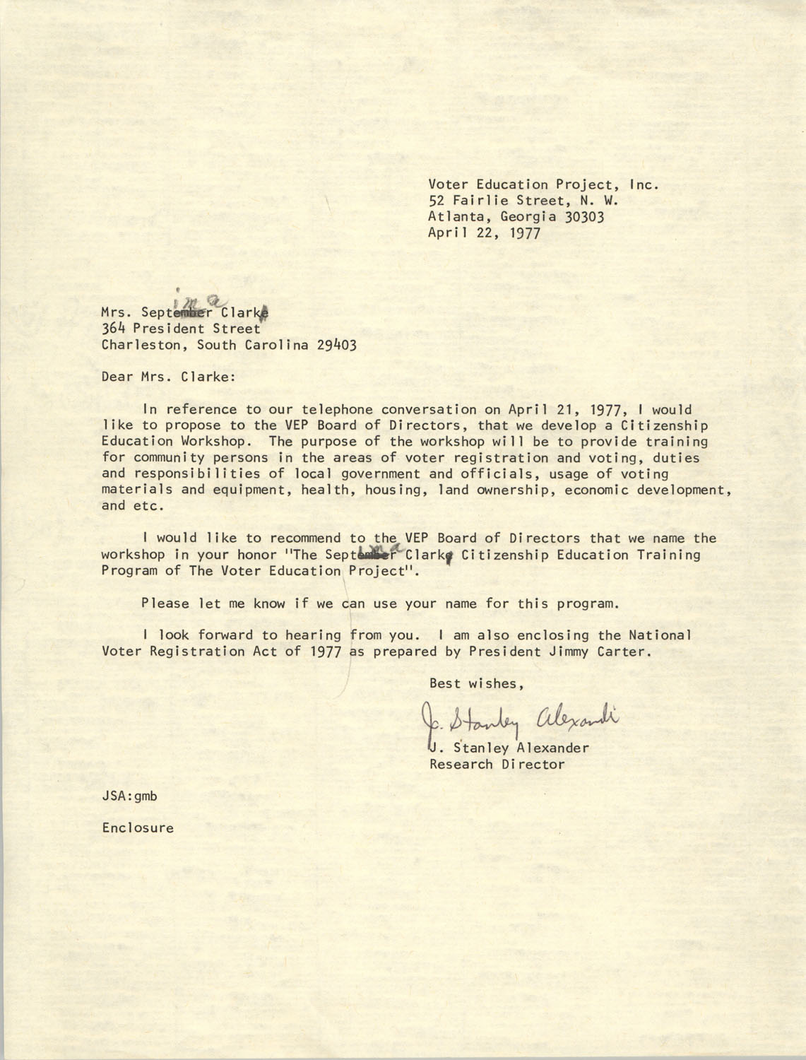 Letter from J. Stanley Alexander to Septima P. Clark, April 22, 1977