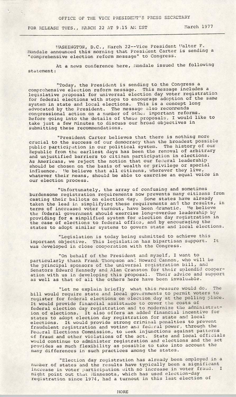 Press Release Statement, March 1977, Page 1