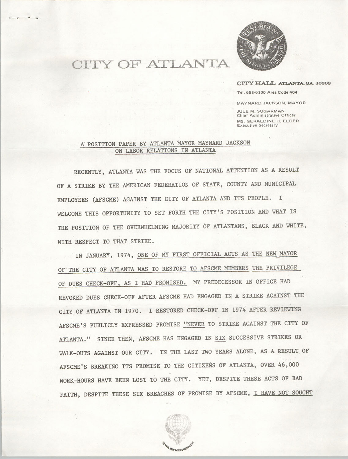 A Position Paper By Atlanta Mayor Maynard Jackson On Labor Relations In Atlanta, Page 1