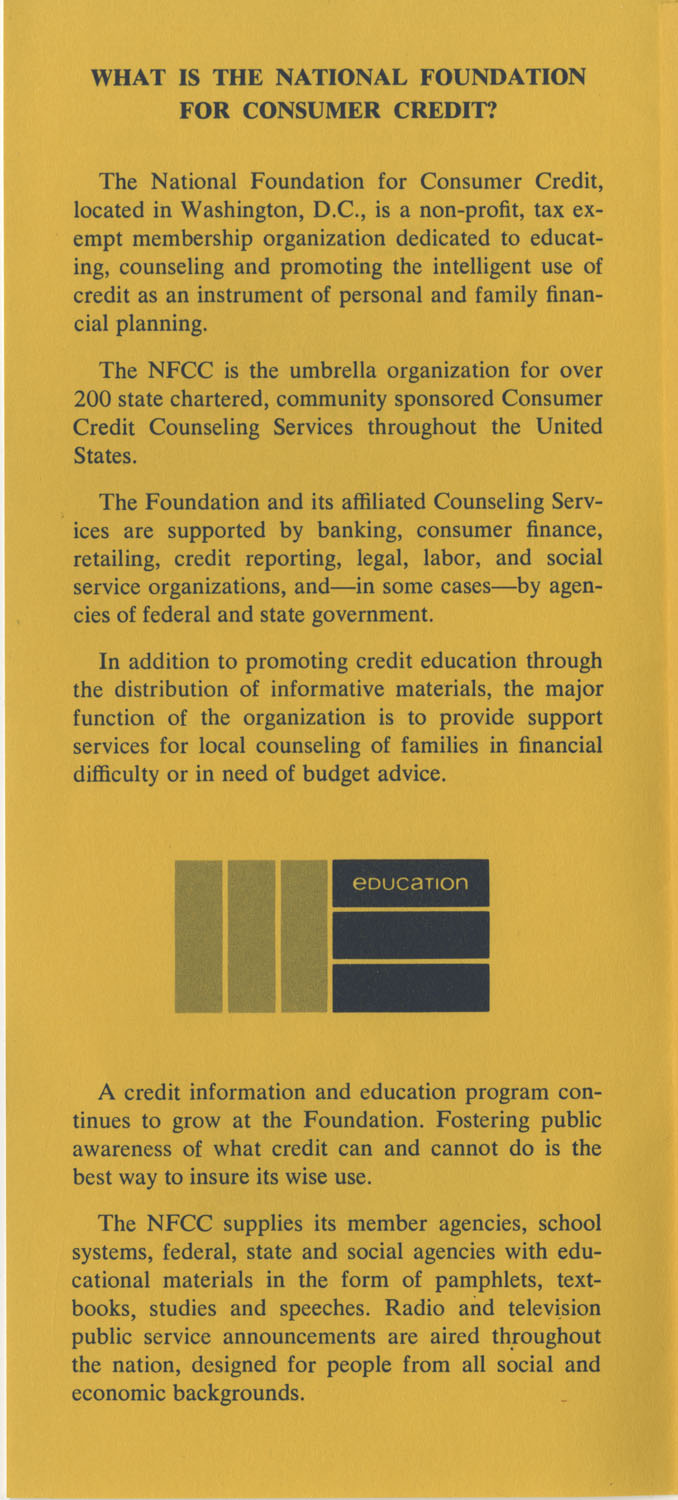 Pamphlet, National Foundation for Consumer Credit, Page 2