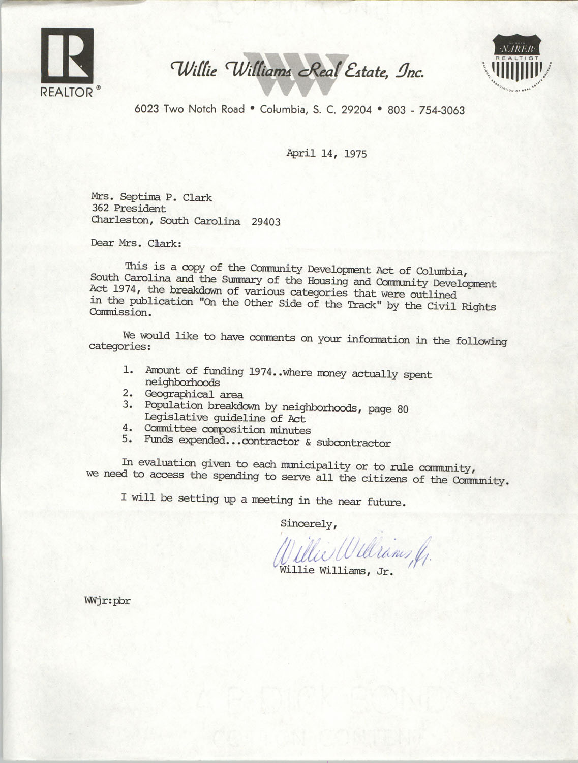 Letter from Willie Williams, Jr. to Septima P. Clark, April 14, 1975