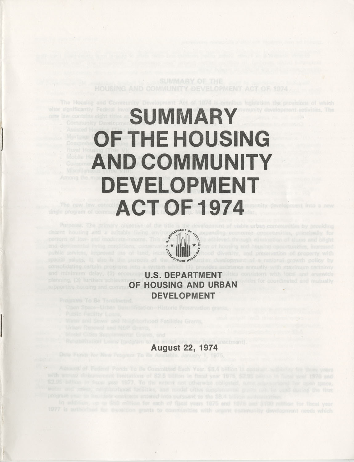 Summary of the Housing and Community Development Act of 1974, Cover