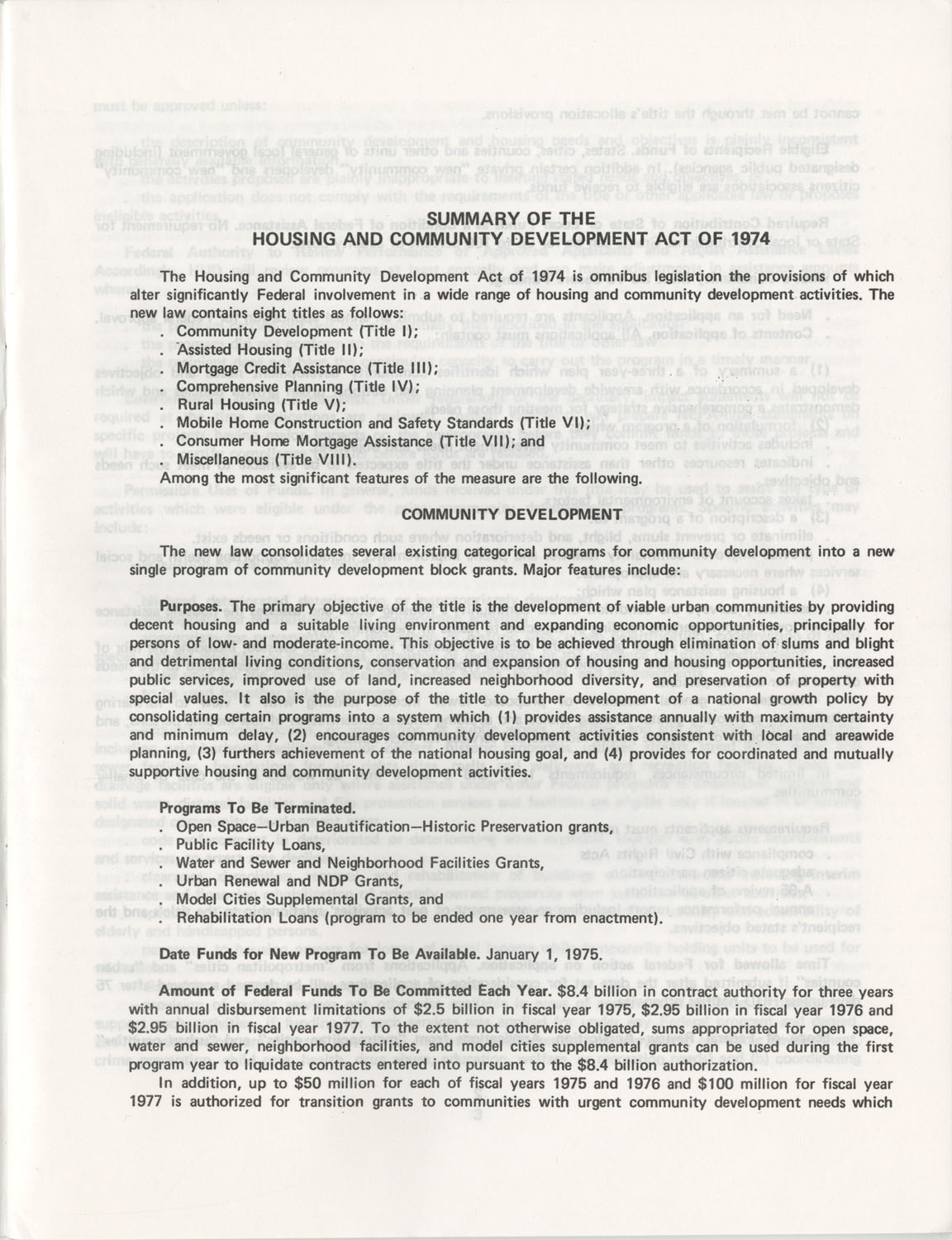 Summary of the Housing and Community Development Act of 1974, Page 1