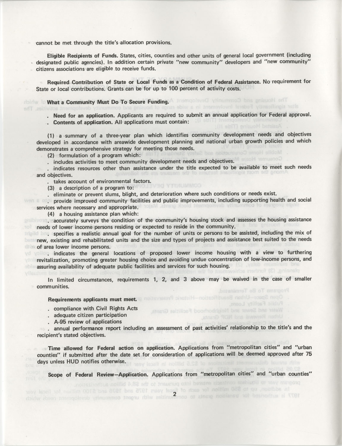 Summary of the Housing and Community Development Act of 1974, Page 2