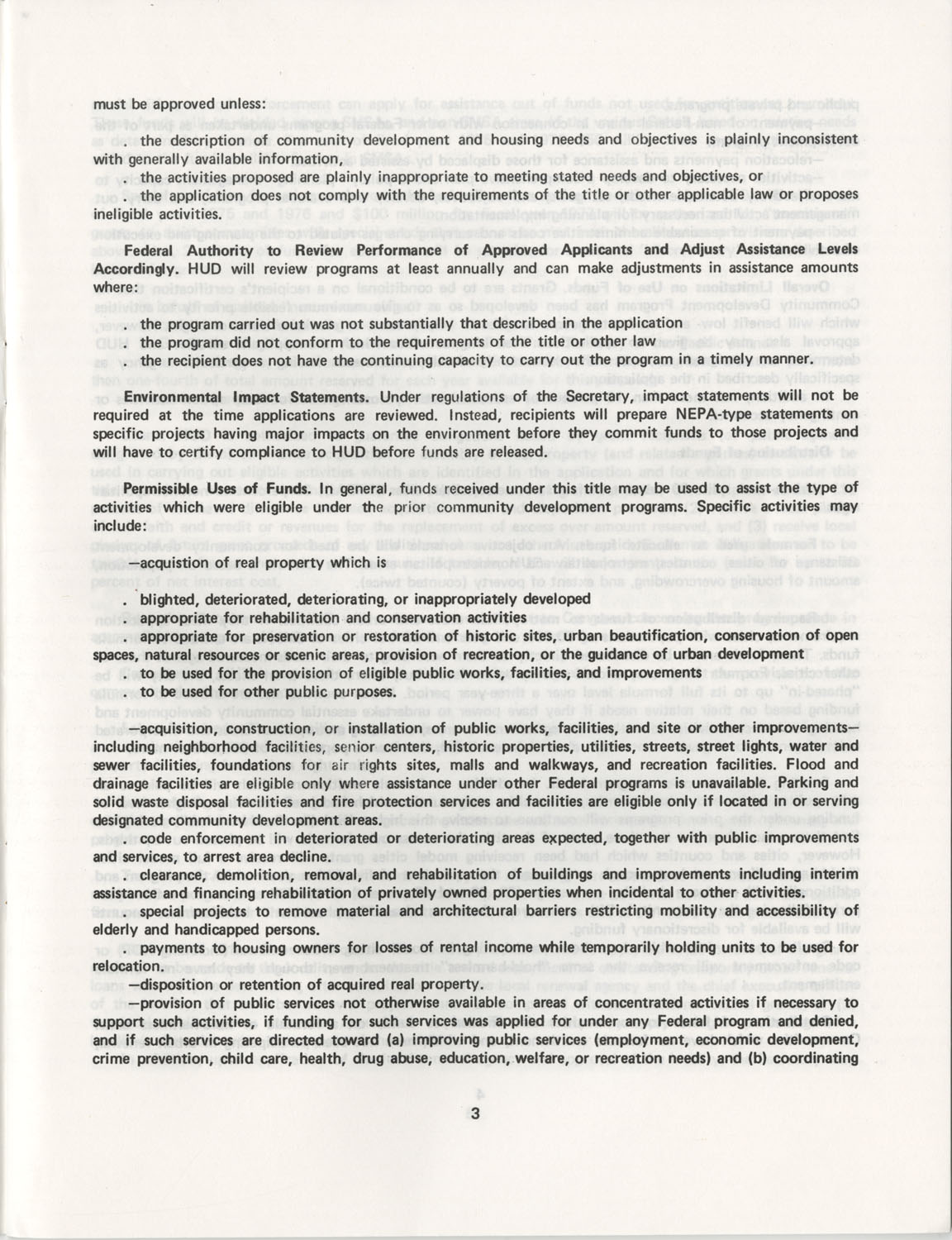 Summary of the Housing and Community Development Act of 1974, Page 3