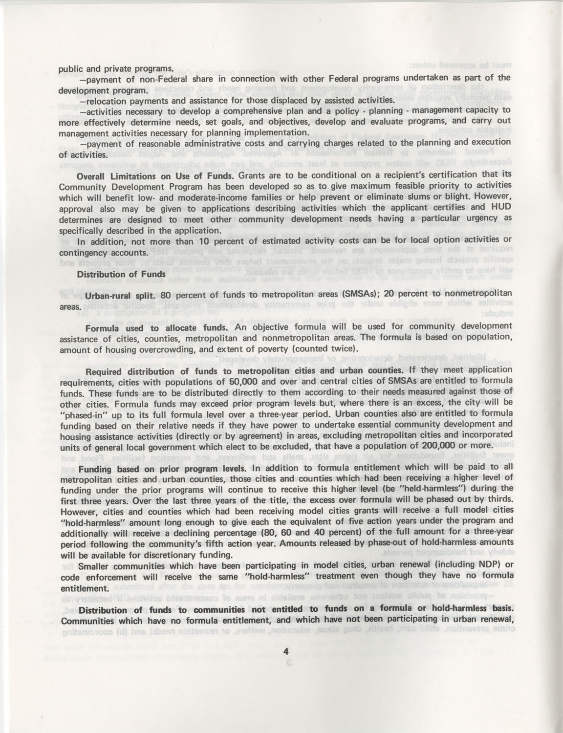 Summary of the Housing and Community Development Act of 1974, Page 4