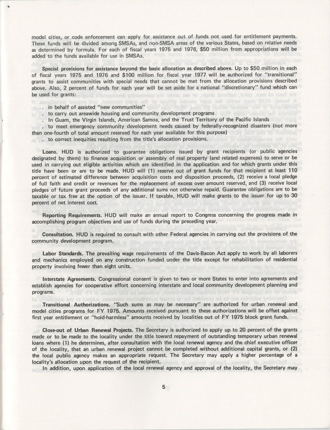 Summary of the Housing and Community Development Act of 1974, Page 5