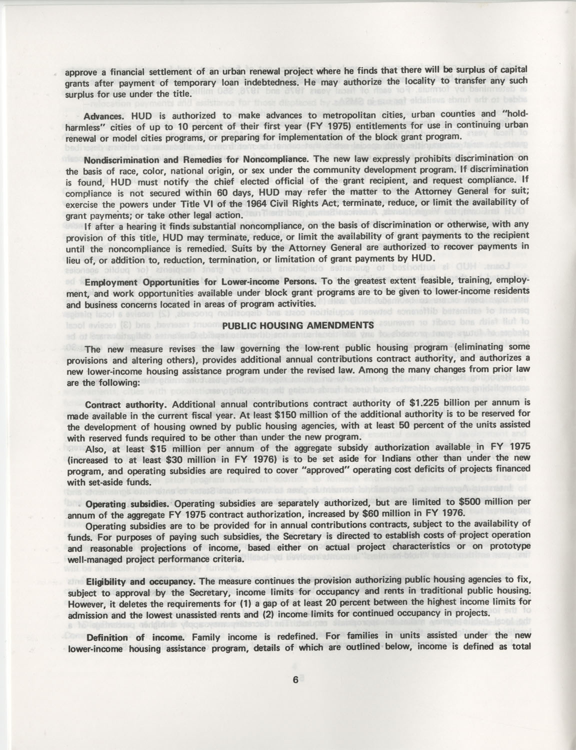 Summary of the Housing and Community Development Act of 1974, Page 6